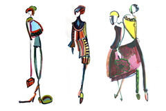 Female figure. abstract, fashion illustration-14. Abstract shapes girls models in clothes made with watercolors Royalty Free Stock Photography