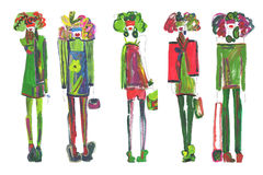 Female figure. abstract, fashion illustration-16. Abstract shapes girls models in clothes made with watercolors Royalty Free Stock Images