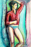 Female figure painting. The female stands with one hand on her head, in blue briefs and a red shirt Royalty Free Stock Image
