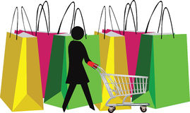 Female figure with shopping. Cart and bags Stock Image