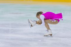 Female Figure Skater from Belarus Mariya Avdeeva Performs Cubs A Girls Free Skating Program. Minsk, Belarus –April 22, 2018: Female Figure Skater from Belarus Stock Images
