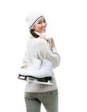 Female figure skater keeps skates Stock Photo
