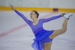 Female Figure Skater Performs Adult Ladies Free Skating Program at Minsk Arena Cup 2017 Royalty Free Stock Images