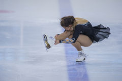 Female Figure Skater performs Chicks Ladies Free Skating Program at Minsk Arena Cup Royalty Free Stock Photo