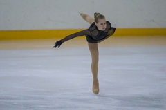Female Figure Skater performs Chicks Ladies Free Skating Program at Minsk Arena Cup Stock Photo