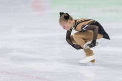 Female Figure Skater from Russia Margarita Kosinenko Performs Cubs A Girls Free Skating Program. Minsk, Belarus –April 22, 2018: Female Figure Skater from Royalty Free Stock Photos