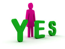 Female figure standing near to an yes icon. Royalty Free Stock Photography