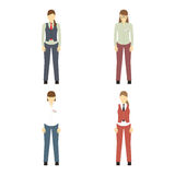 Female figures avatars, icons. Business people. Female figures avatars. Business people icons.  Elements for design Stock Photos