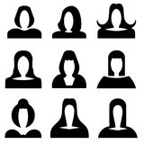 Female figures without face - black silhouette vector set. With white background Stock Images