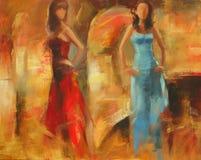 Female figures handmade painting. Female figures handmade oil painting on canvas Royalty Free Stock Photos