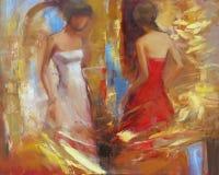Female figures handmade painting. Female figures handmade oil painting on canvas Royalty Free Stock Photo