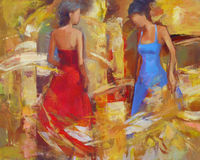 Female figures handmade painting. Female figures handmade oil painting on canvas Stock Photo