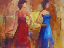 Female figures handmade painting. Female figures handmade oil painting on canvas Stock Images