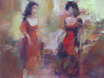 Female figures handmade painting. Female figures handmade oil painting on canvas Stock Photos