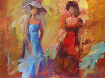 Female figures handmade painting. Female figures handmade oil painting on canvas Stock Photography