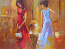 Female figures handmade painting. Female figures handmade oil painting on canvas Royalty Free Stock Images