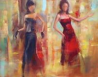 Female figures handmade painting. Female figures handmade oil painting on canvas Stock Image