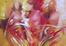 Female figures handmade painting. Female figures handmade oil painting on canvas Royalty Free Stock Photography