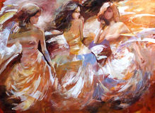 Female figures handmade painting Royalty Free Stock Images