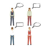 Female figures icons with speech bubbles. Business people. Female figures icons, avatars with speech bubbles. Business people icons.  Elements for design Stock Photography