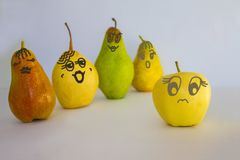 Female figures. A number of pears, beautiful female figures. Sad apple, the lack of female forms. Nonsexuality, unattractiveness. Figure made by the author royalty free stock photos
