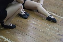 Female figures in tights for choreography and dance shoes stock photo