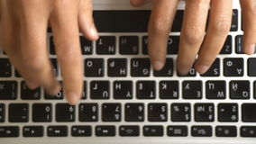 Female fingers on the computer keyboard. Top view. stock footage