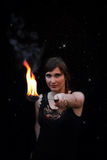 Female fire eater Stock Photos