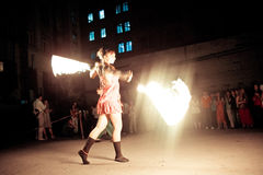 Female fire performance royalty free stock image