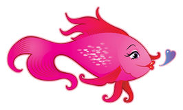 Female fish cartoon. Cute female fish vector illustration Stock Photography