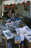 Female Fishmonger in fish stall on market in Porto Royalty Free Stock Photos