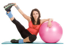 Female with fitness ball in sport center Stock Photos