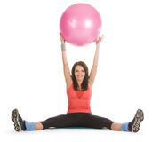 Female with fitness ball in stretching. Attractive young female with fitness ball in stretching Stock Images