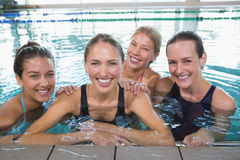 Female fitness class smiling at camera Royalty Free Stock Images