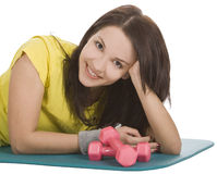 Female with fitness dumbbells in sport center Stock Photography