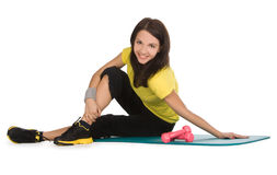 Female with fitness dumbbells in sport center Royalty Free Stock Image