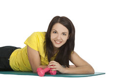 Female with fitness dumbbells in sport center Royalty Free Stock Photography