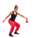 Female Fitness Instructor Exercise with Kettlebell Royalty Free Stock Photos