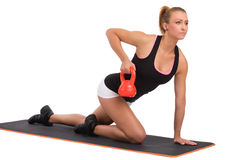 Female Fitness Instructor With Kettlebell Royalty Free Stock Photo