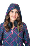 Female in fitness outfit with headphones Stock Image
