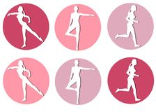 Female Fitness Silhouette Icons. An illustration featuring your choice of 6 female silhouette fitness characters in colourful circles Stock Photos