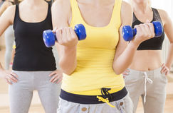 Female Fitness Teamwork Concepts. Closeup of Group of Three Fema Stock Images