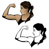 Female Fitness Woman Flexing Arm Illustration Royalty Free Stock Photography