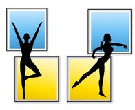 Female Fitness Yoga Silhouettes Royalty Free Stock Photo