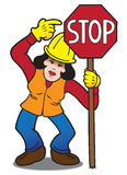 Female Flagger Stock Photo