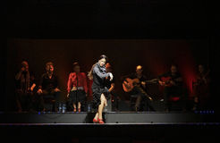 Female flamenco dancer and singers performing on stage in Barcelona, Spain. Royalty Free Stock Photos
