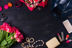 Female flat lay scene Royalty Free Stock Images