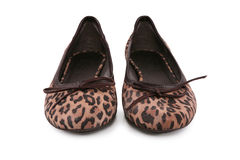 Female flat shoes with leopard pattern Royalty Free Stock Images