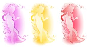 Female Floral Fashion Logos Stock Images