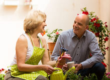 Female florist with client Stock Photo
